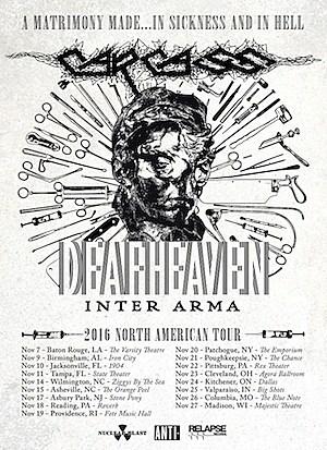 Carcass + Deafheaven to Co-Headline Fall North American Tour