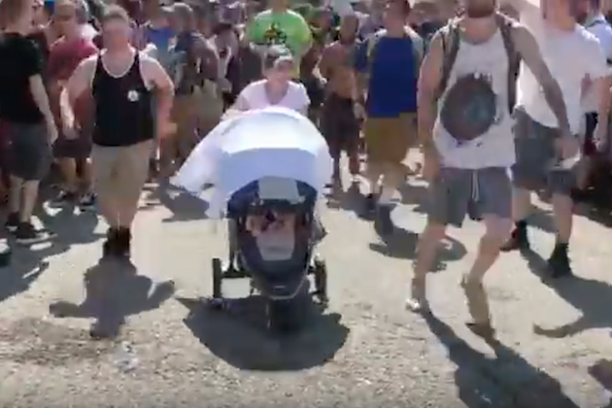 Watch a Baby in a Stroller Get Pushed Around Circle Pit at ...