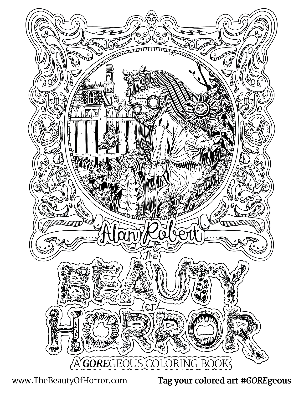 The Beauty of Horror 1: A GOREgeous Coloring Book: Amazon.ca: Alan ... | 1650x1275