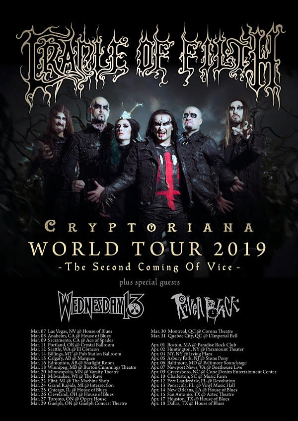 Cradle of Filth Announce 2019 North American Tour