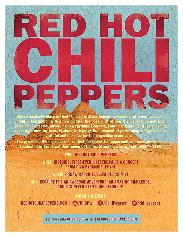 Red Hot Chili Peppers Will Live Stream Concert at Giza Pyramids