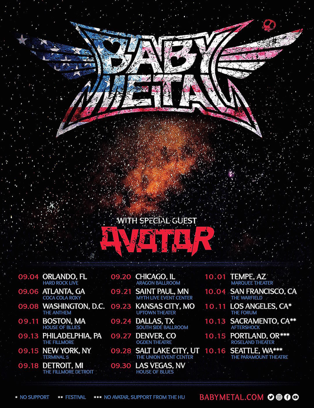 Babymetal Tour 2020.Babymetal Announce 2019 U S Tour With Avatar