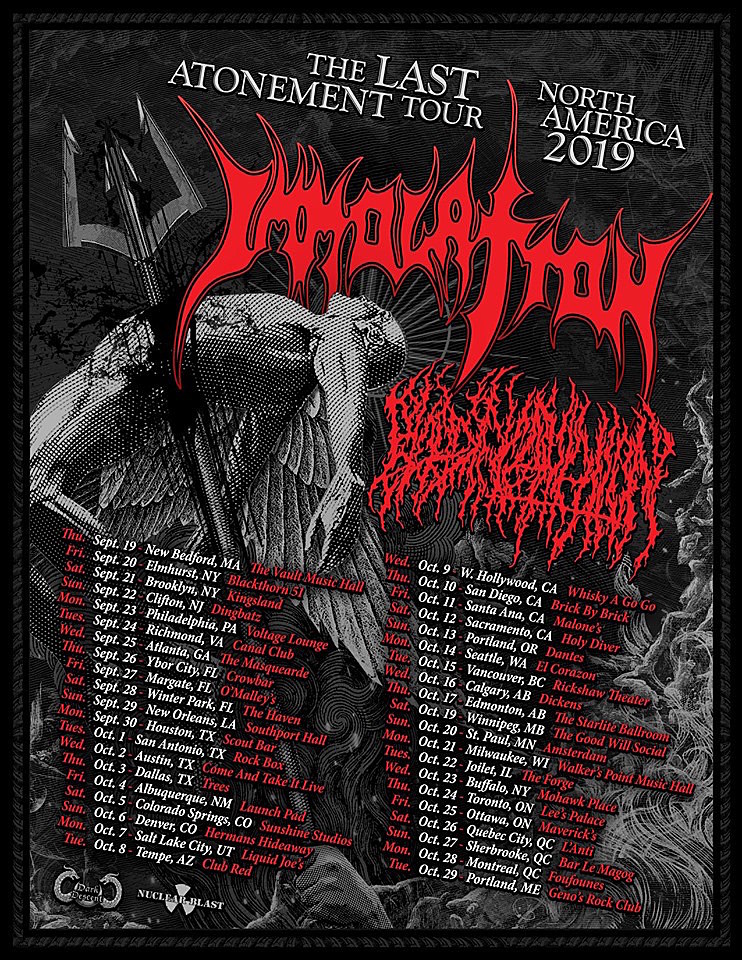 Immolation Book 2019 North American Tour With Blood Incantation