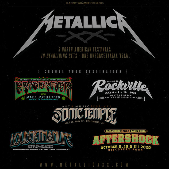 Outlaw Music Festival 2020.Metallica To Headline Five 2020 Festivals Play Two Sets At Each