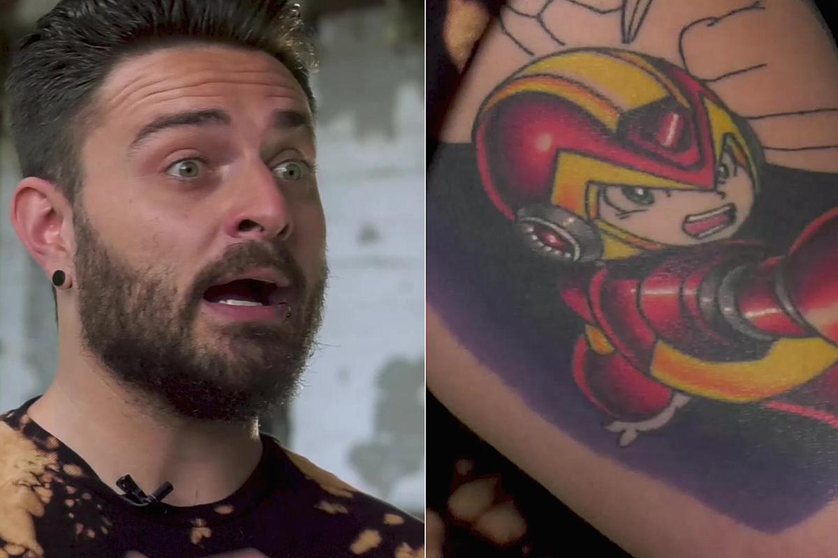 I Prevail Guitarist S Mega Man Tattoo Shot Down By Tattoo Artist