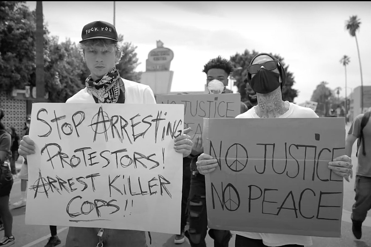 Machine Gun Kelly + Travis Barker Cover Rage Against the Machine After Protest March