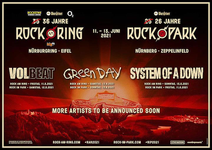 SOAD, Green Day + Volbeat Lead 2021 Rock Am Ring Rock Im Park