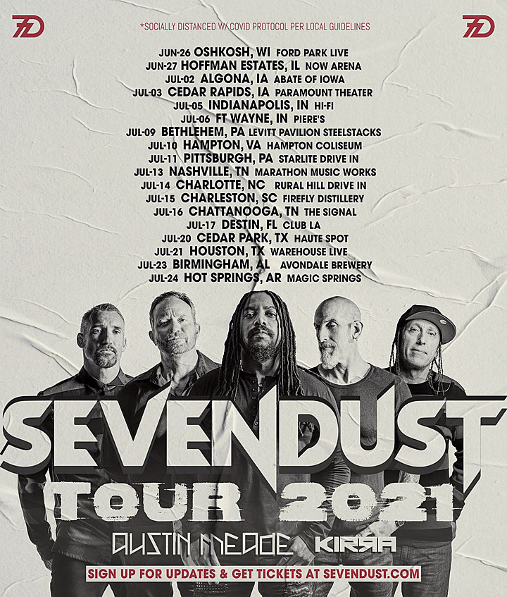 Christmas Roadshow Tour 2021 Texas Sevendust Announce Summer 2021 Tour With Austin Meade Kirra