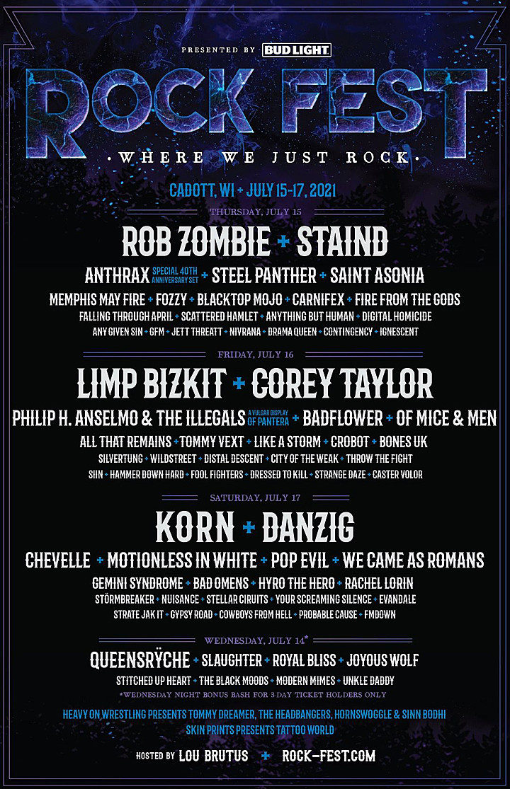Rock Fest 2021 Daily Lineups Announced, Corey Taylor + More Added