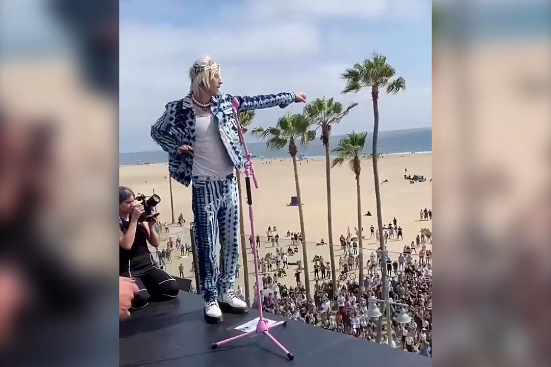 Machine Gun Kelly + Travis Barker Play Surprise Rooftop Concert