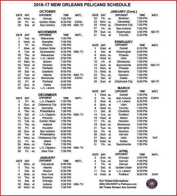 New Orleans Pelicans 2016 17 Schedule