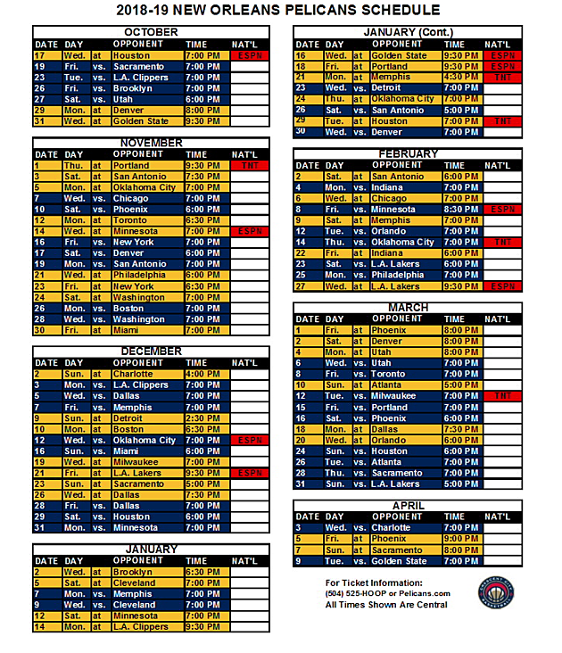 Pelicans Schedule Released Featured On National Tv 13 Times
