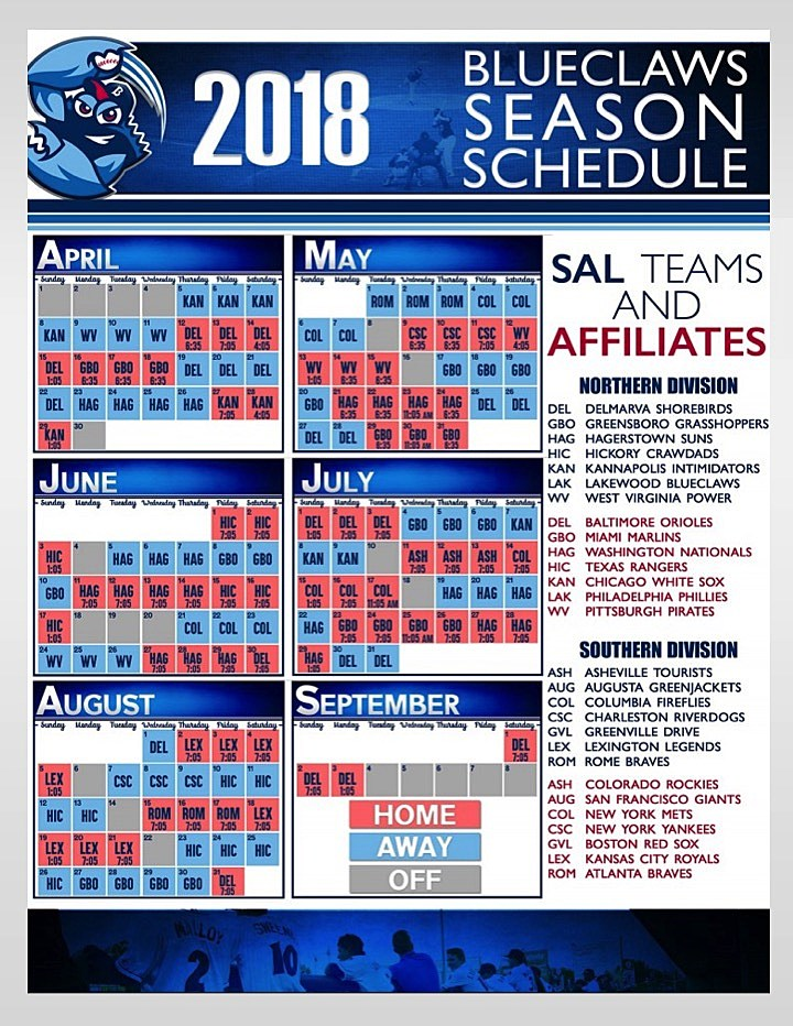 Lakewood BlueClaws 2018 Schedule