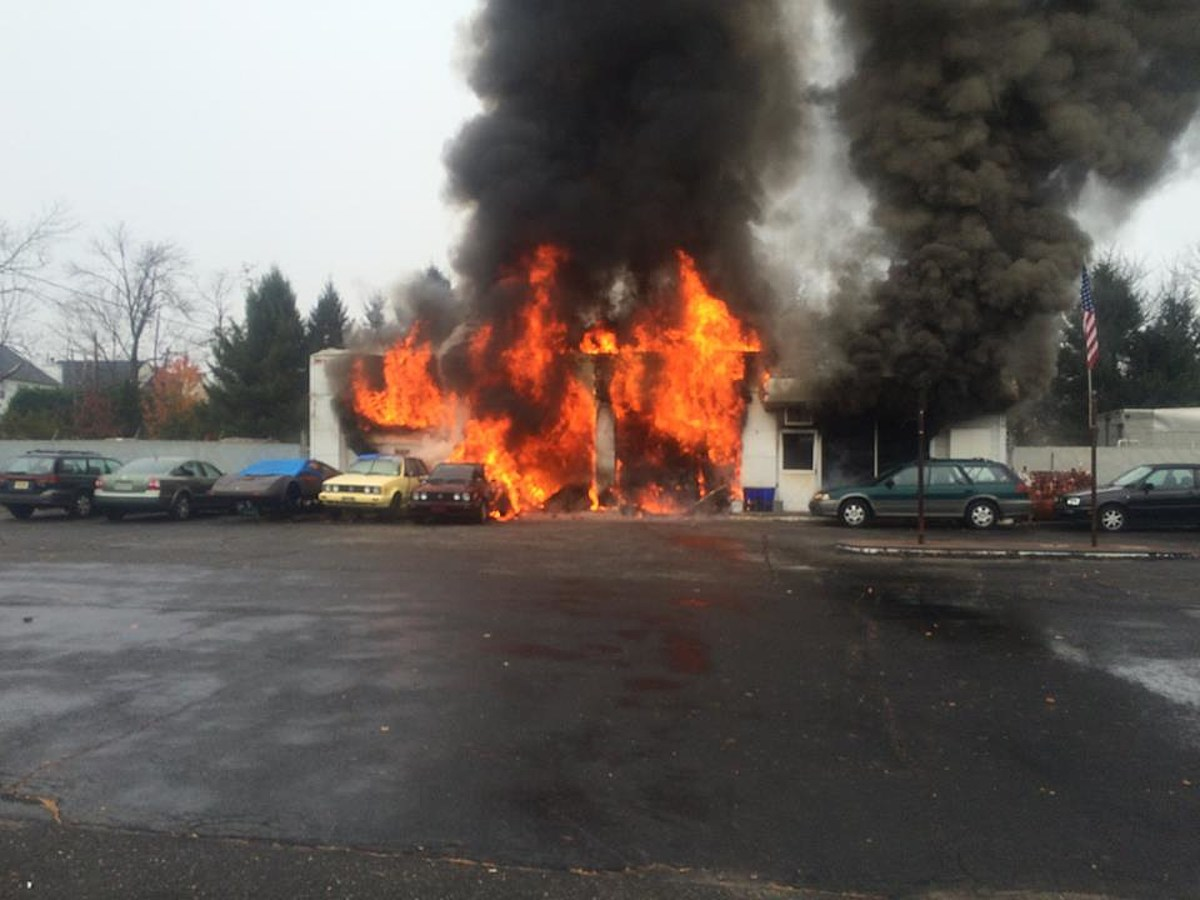 Somerset auto garage goes up in flames