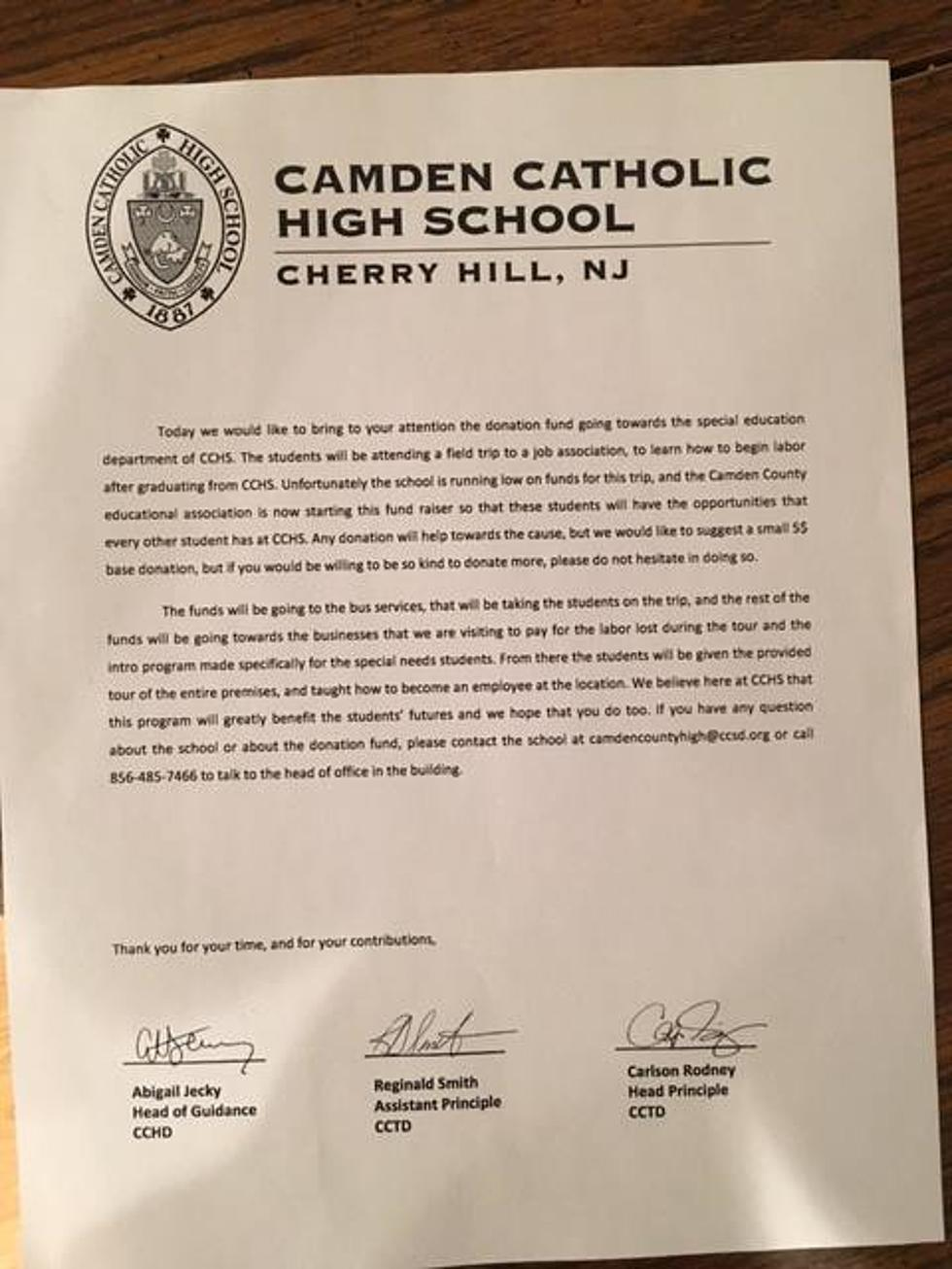 Cops investigating fake fundraising letter for Camden Catholic High
