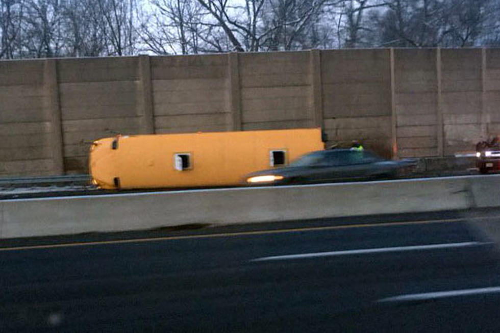 School bus overturns on Route 80 with no kids on board