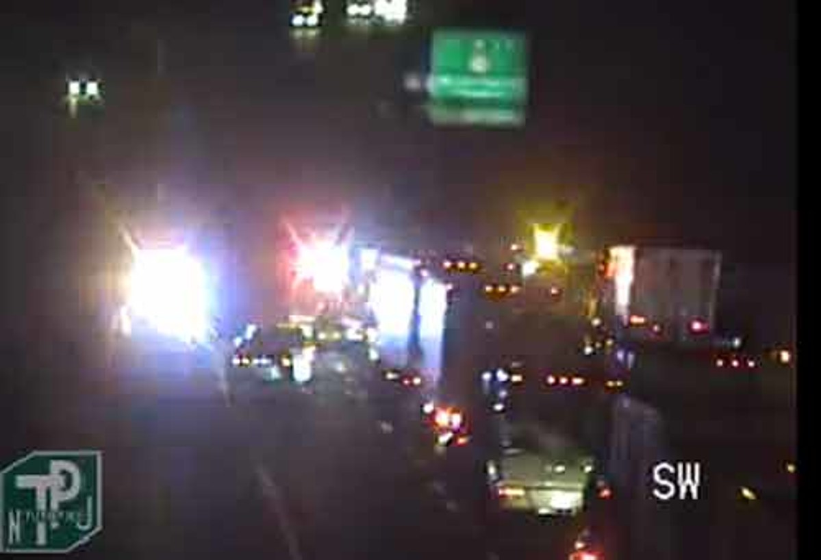 Tractor trailer hits NJ Turnpike overpass
