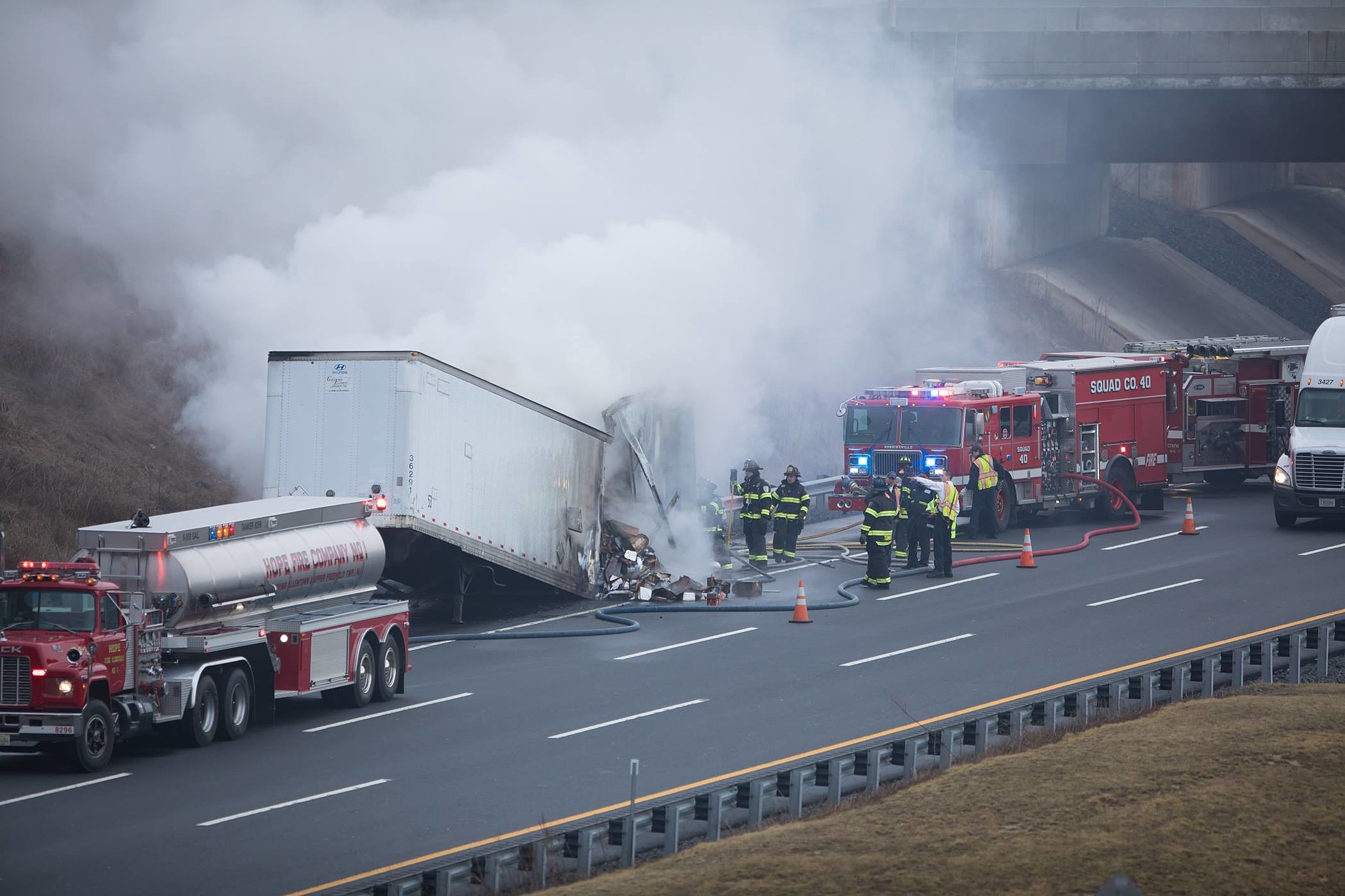 Truck fire causes Turnpike delays near Exit 7A