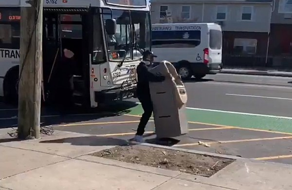 Man tries to drag ATM onto NJ Transit bus, and it's caught on video