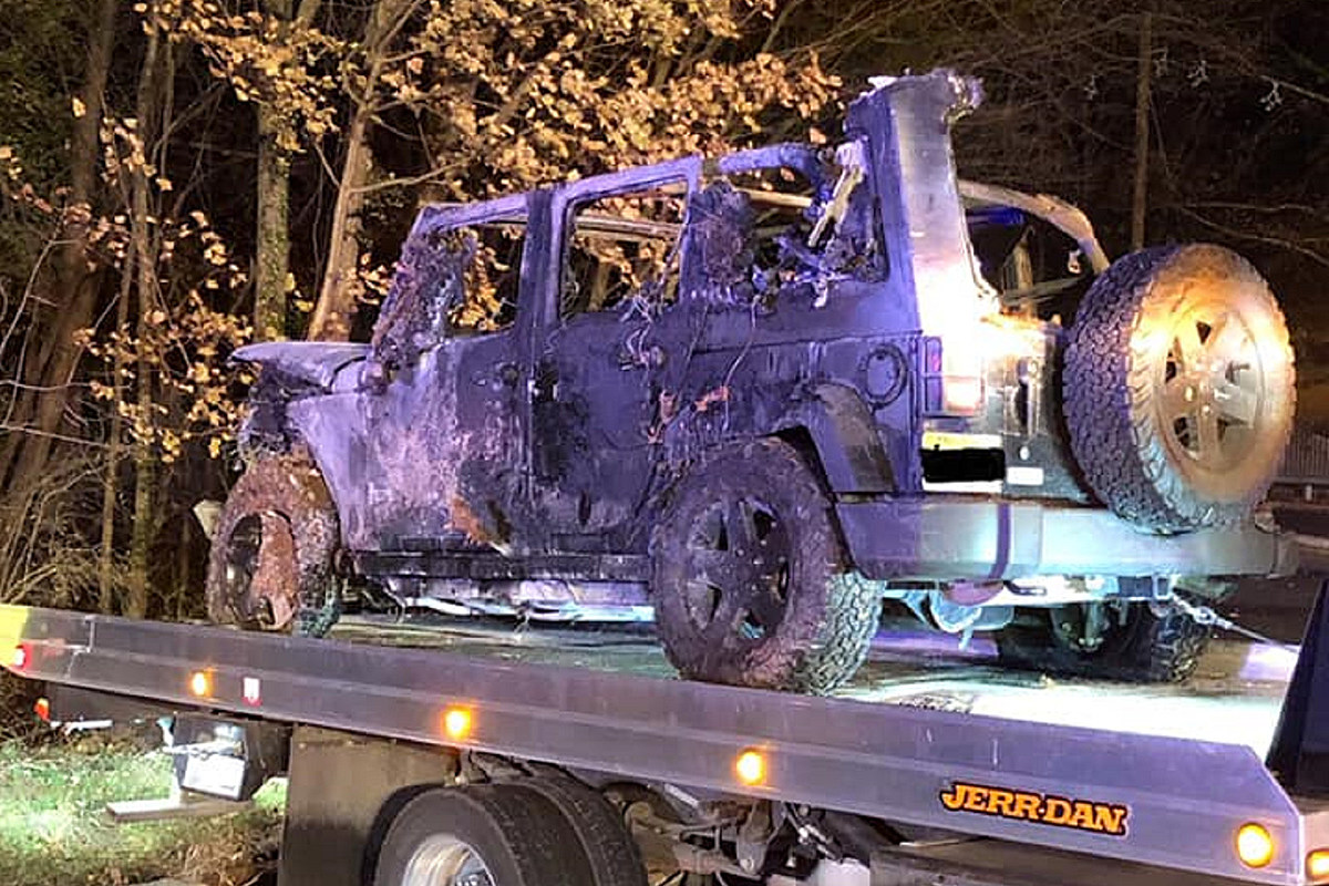 Cops ask who drove off Route 22 in a Jeep that flipped, burned