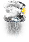 Weather icon for Thunderstorm with Rain and Sun