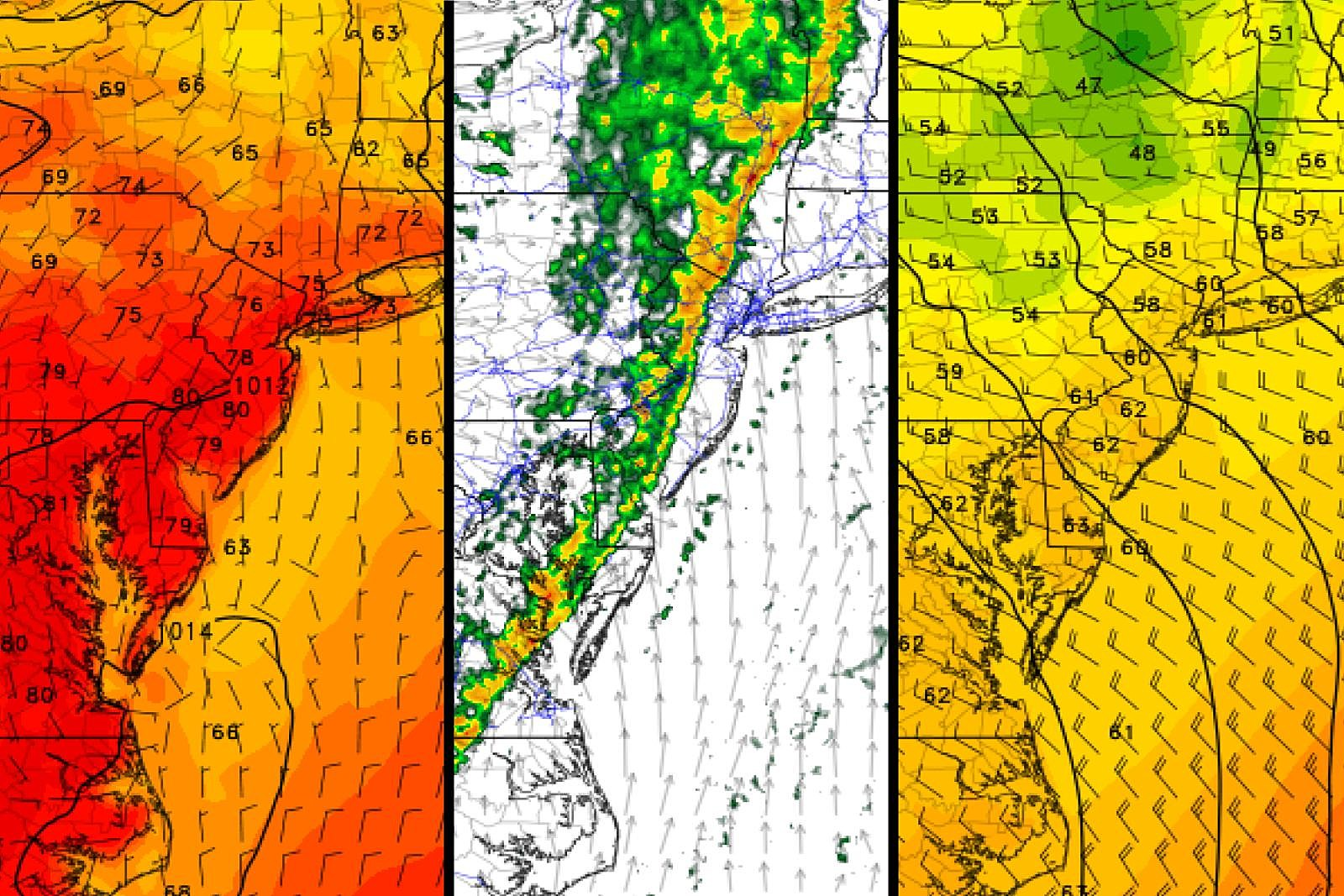 NJ weekend weather: Warm start, stormy middle, much cooler finish