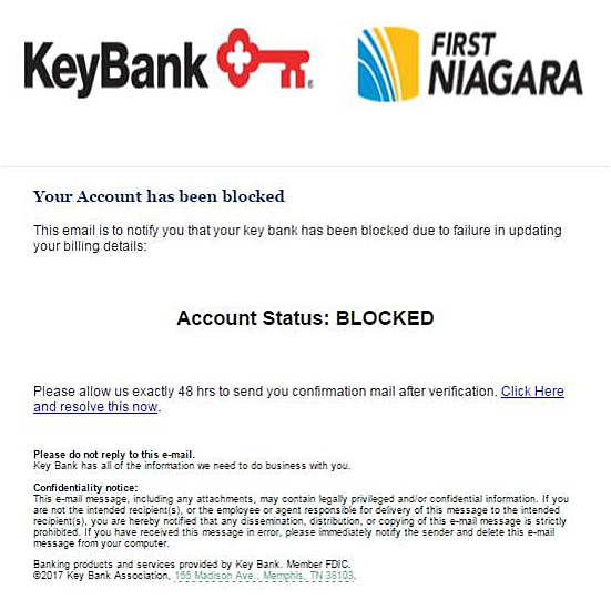 Watch Out For Local KeyBank Email Phishing Scam