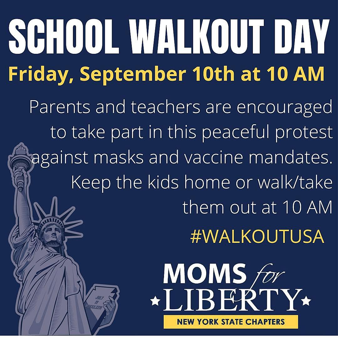 Protest Masks & Vaccine Mandates in NY on School Walk Out Day