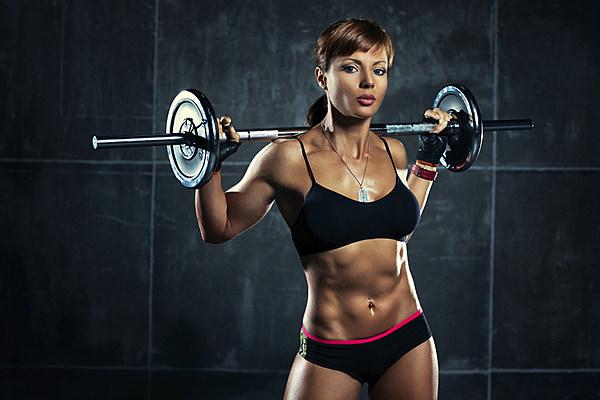 hot naked babe lifting weights