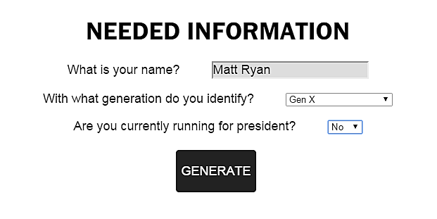 Secret Service Code Name Generator