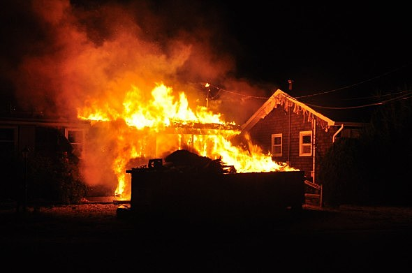 house ravaged by fire
