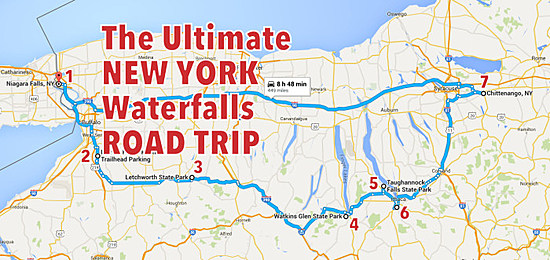 Ny State Map Google.The Perfect New York Water Falls Road Trip