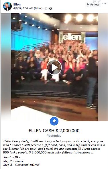 SCAM ALERT: Ellen Isn't Giving You Money In A Facebook Post