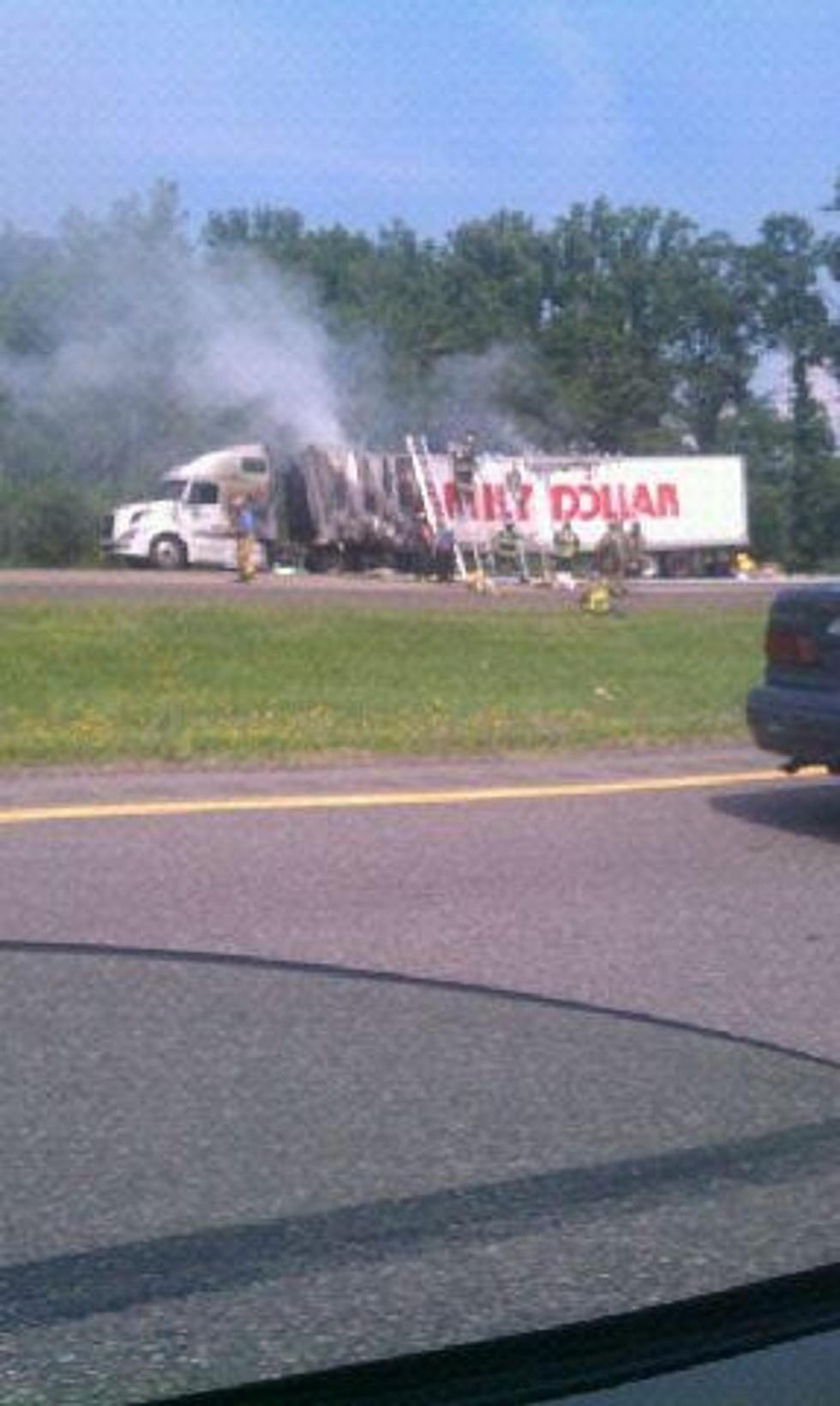 NYS Thruway Blocked At Exit 34 Due To Truck Fire
