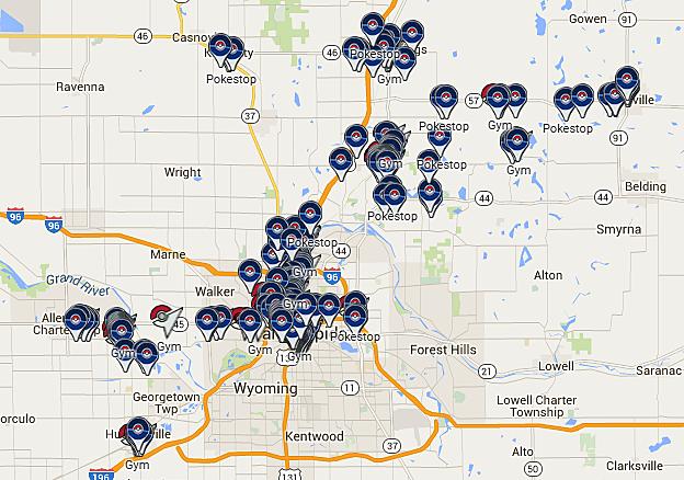 Belding Michigan Map.Public Michigan Pokemon Go Map