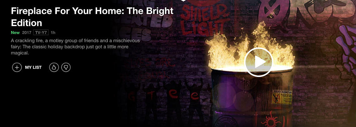 Netflix Releases 'Bright'-Themed Holiday Fireplace
