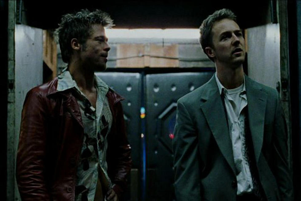 "Brad Pitt (left) and Edward Norton (right) as Tyler Durden in ""Fight Club"" (1999)"