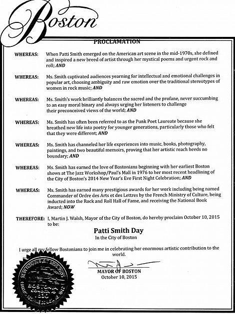 Boston Declares October 10 'Patti Smith Day'