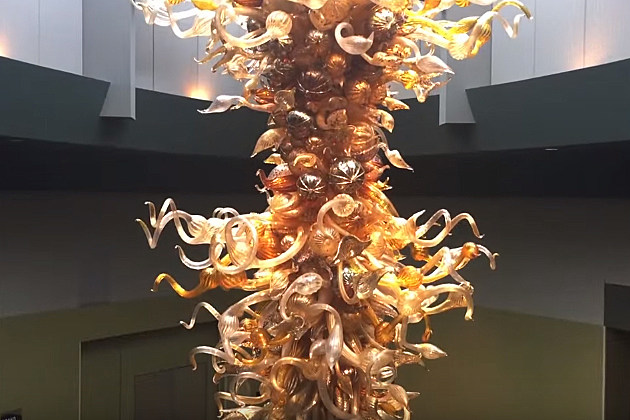 Glass chandeliers by Dale Chihuly in dining hall of