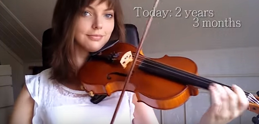 A Timelapse of a Woman Learning to Play the Violin