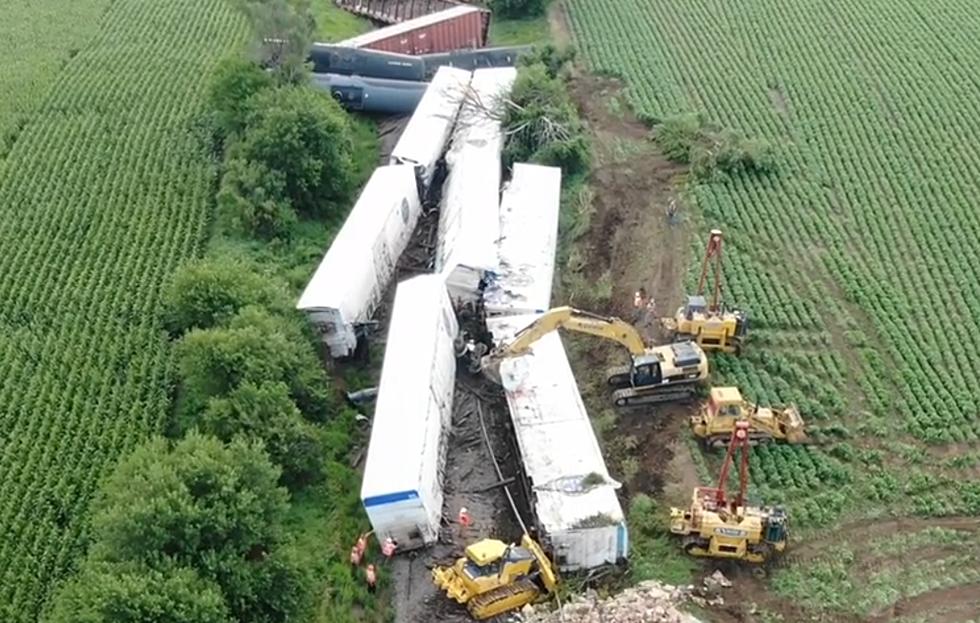 Drone Video Of Yesterdays Train Derailment By Hull, Iowa