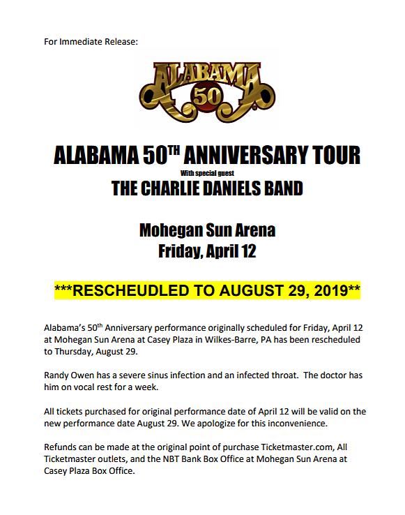 Alabama Postpones 50th Anniversary Show in Wilkes-Barre