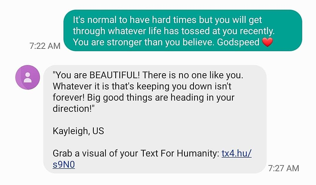 "Text for Humanity"" Sends Positive Texts to Strangers"