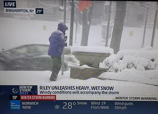 Weather Channel Provides Live Snow Updates from Binghamton