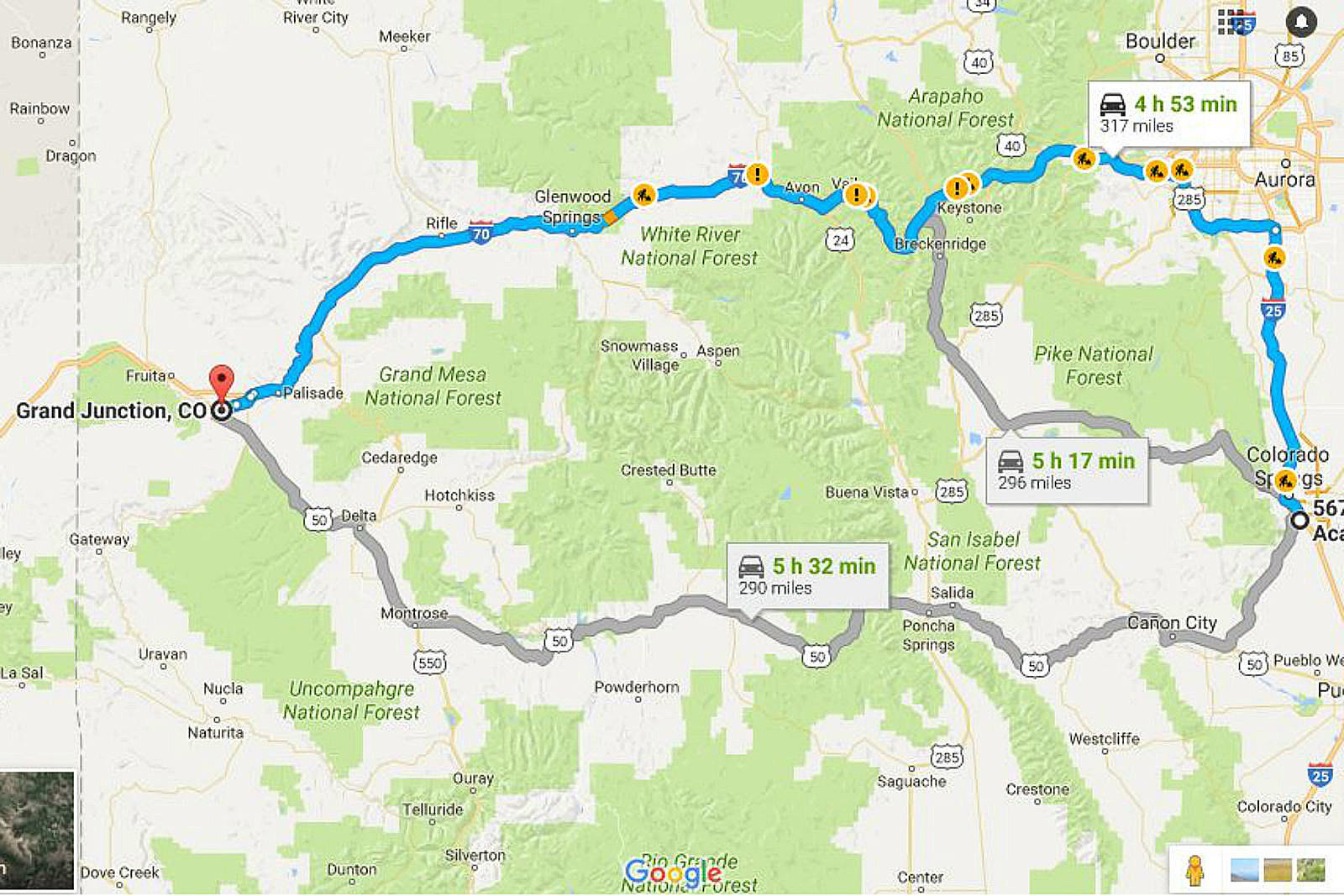 This is the Way to Drive from Grand Junction to Colorado Springs Map Colorado Springs on