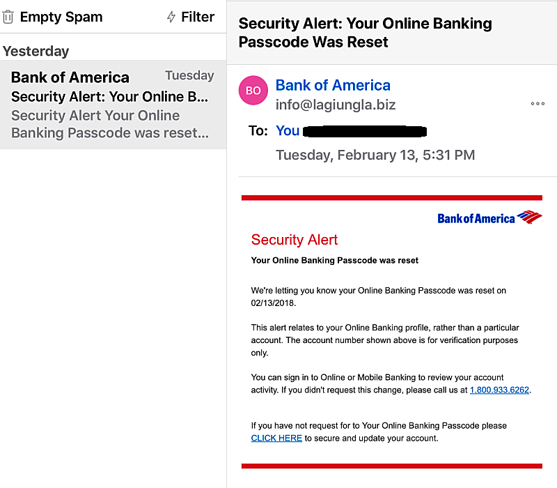 Bank Of America Email Scam Has More Than One Way To Trick You