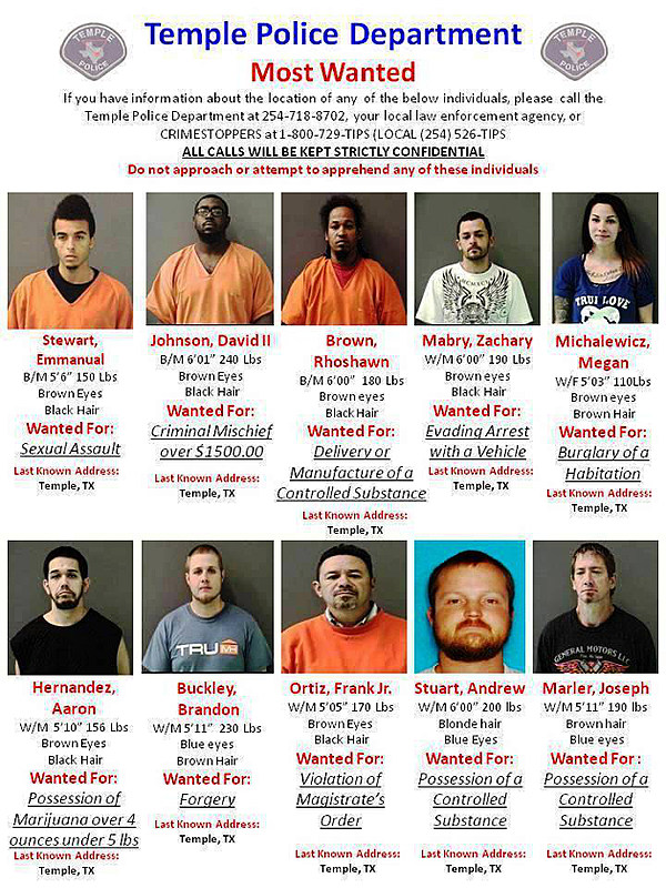 Temple Police Department Updates Top 10 Most Wanted List