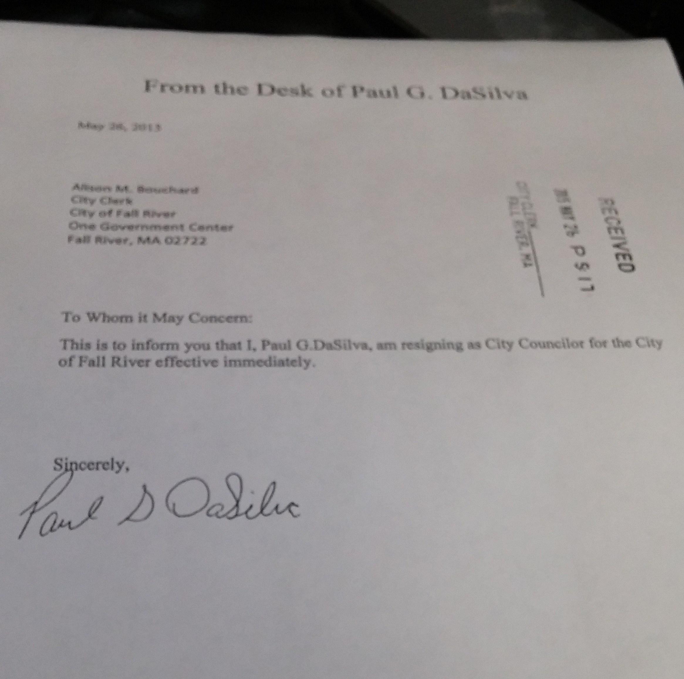 Fall River City Council Member Resigns
