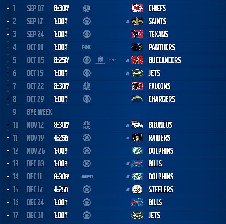 graphic relating to Patriots Printable Schedule identified as Patriots Agenda 2017-2018 Year