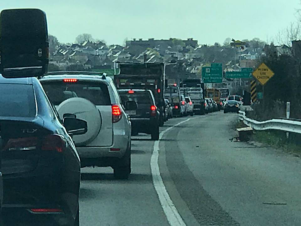 Route 195 Backed Up from Coggeshall Street to Fairhaven